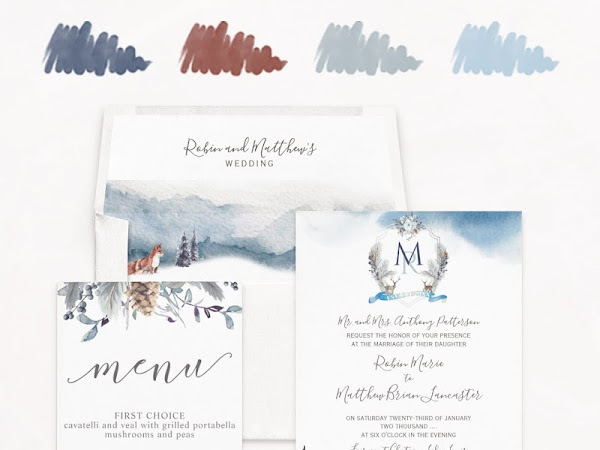 Dusty Blue Cinnamon & Navy Wedding Color Palette - Inspiration Invitations and Free Favor Tags
