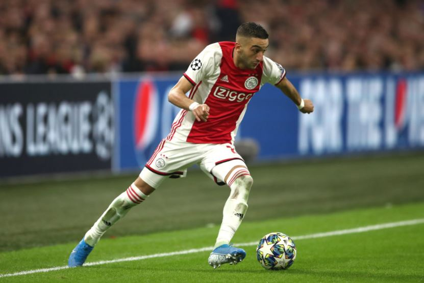 Hakim Ziyech in action for Ajax vs Chelsea in the UCL