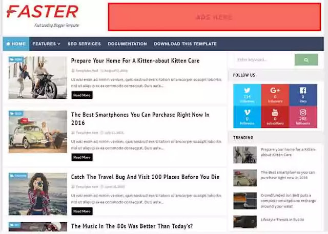 Fast Loading, Responsive Blogger Template