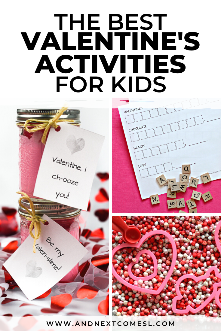 Valentine's Day activities for kids, including Valentine's Day crafts, printables, and sensory bins