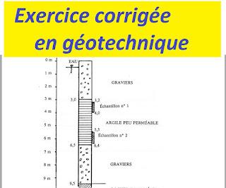 Exercices avec solution en géotechnique et mécanique du sol, mécanique des sols - exercices résolus géotechnique, exercices et problèmes corrigés de mécanique des sols, geotechnique exercices résolus