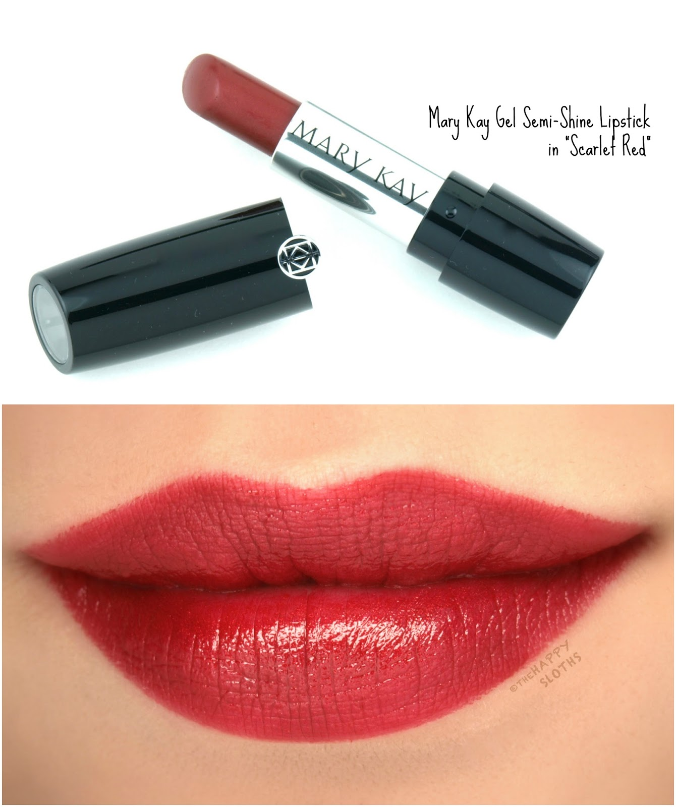 "Mary Kay Gel Semi-Shine Lipstick in ""Scarlet Red"": Review and Swatches"