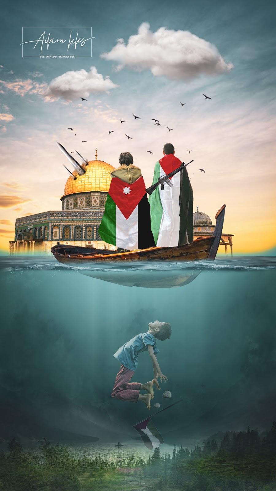 العلم الفلسطيني والعلم الاردني