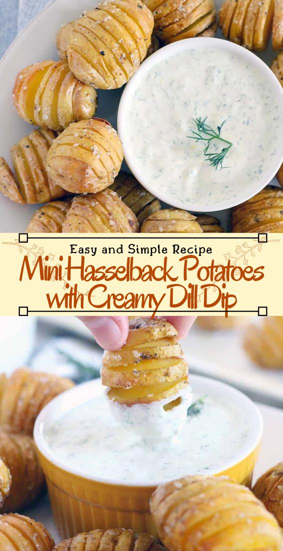 Mini Hasselback Potatoes with Creamy Dill Dip #vegan #vegetarian #soup #breakfast #lunch