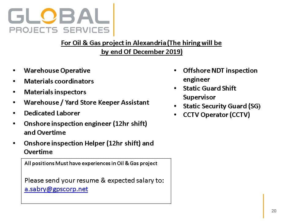 For Oil & Gas project in Alexandria