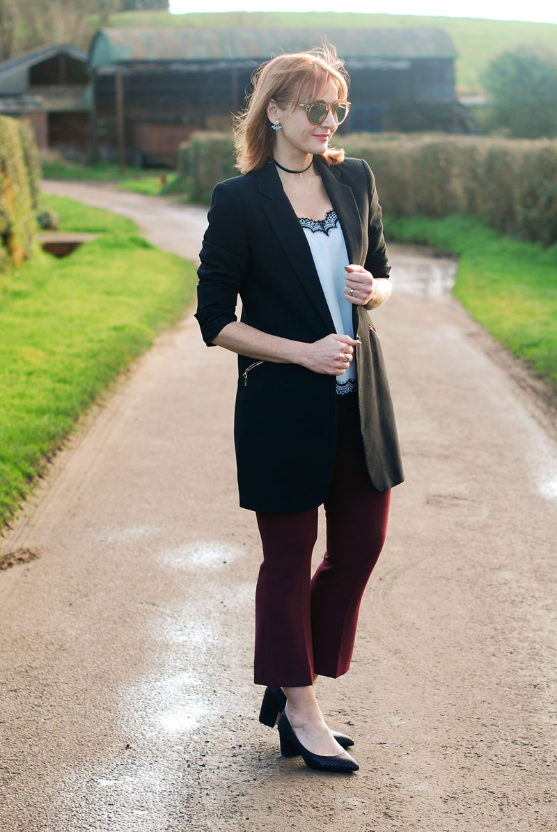 Smart chic look with a blazer and camisole \ black blazer \ black and white camisole top \ burgundy kick flare trousers \ black block heels | Not Dressed As Lamb, over 40 style