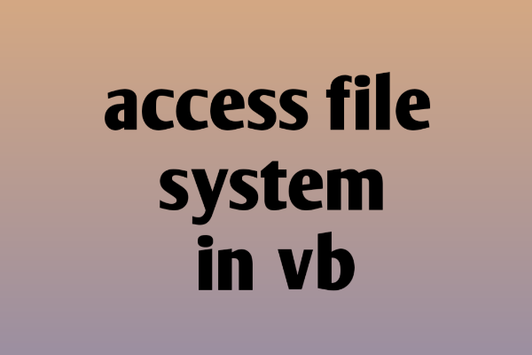 access file system in vb in hindi