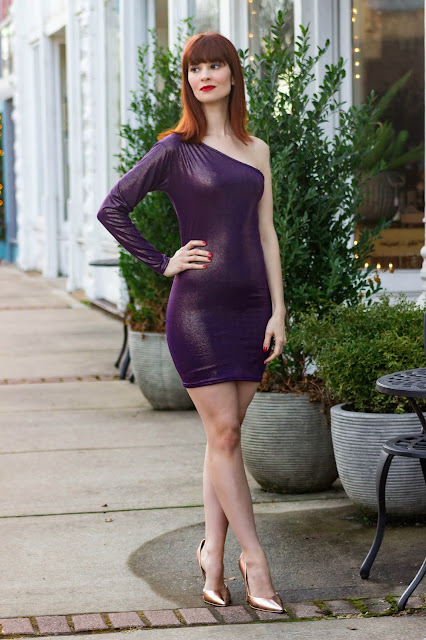 Purple Iridescent One Shoulder Bodycon Mini Dress - Mariah from FemmeLuxeFinery.co.uk