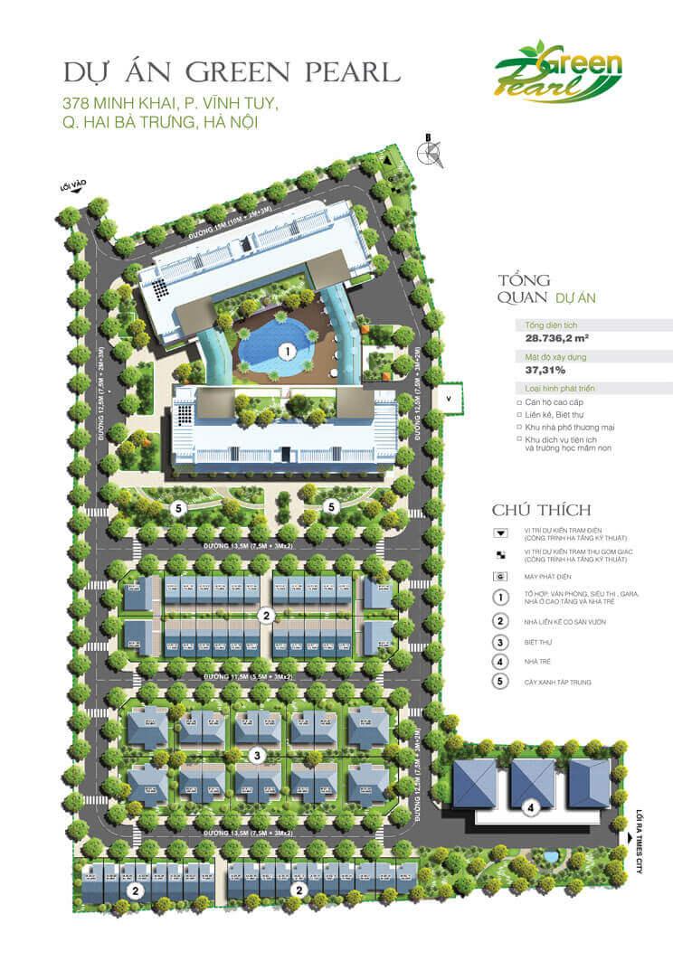 Mặt bằng thiết kế căn hộ chung cư Green Pearl Minh Khai