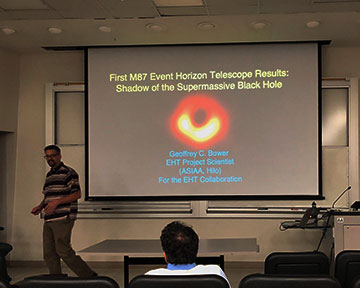 Geoffrey Bower, EHT Project Scientist, presents at the UCI Physics Colloquium (Source: Palmia Observatory)