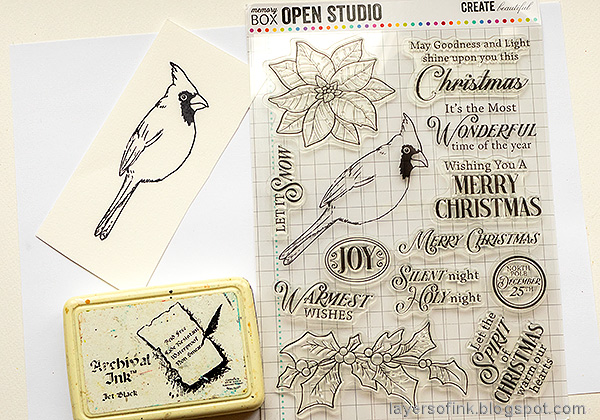 Layers of ink - Cardinal Tag Tutorial by Anna-Karin Evaldsson. Stamp the Memory Box Spirit of Christmas.