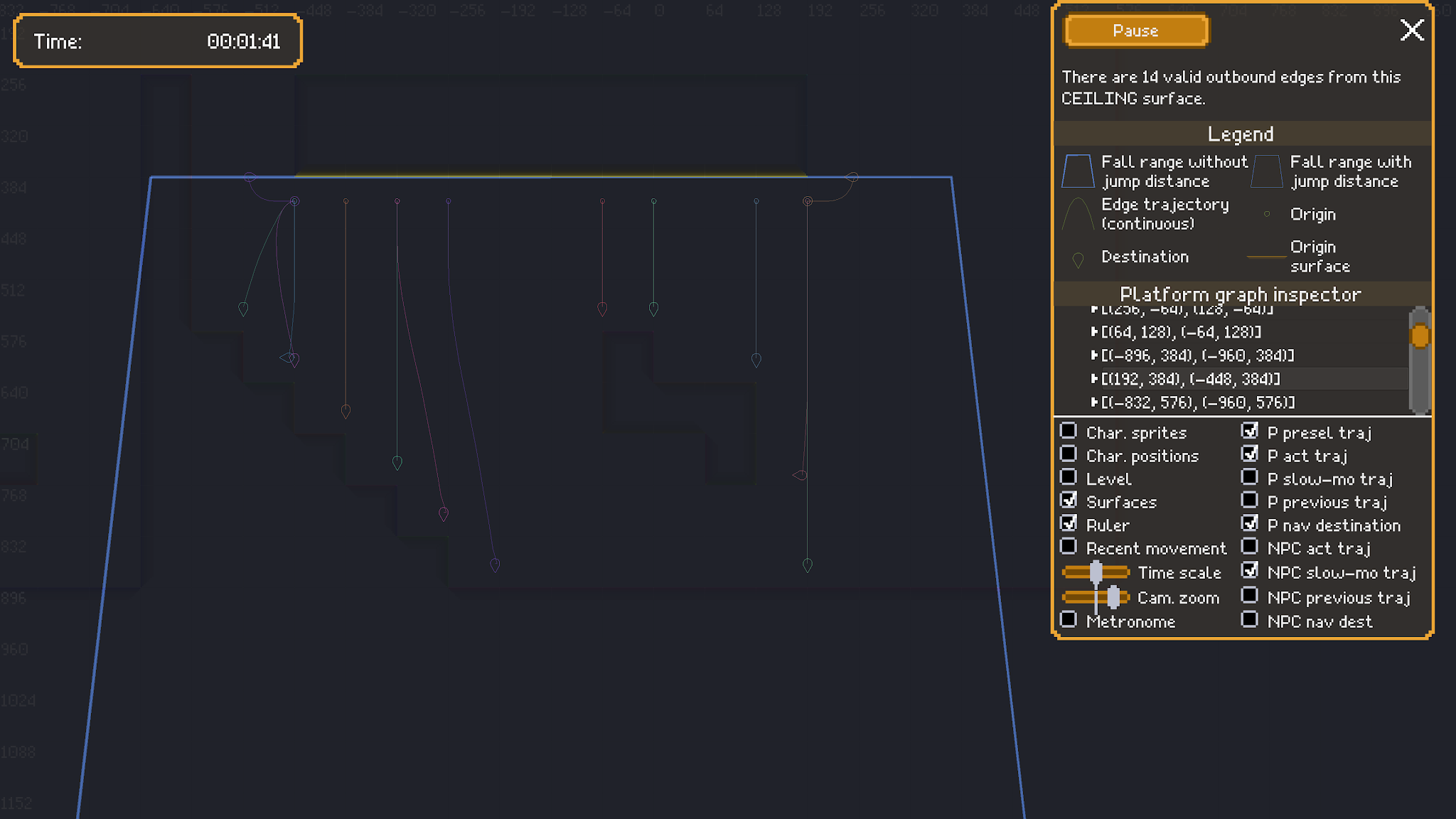 A screenshot showing annotations of edge trajectories for falling from a ceiling surface.