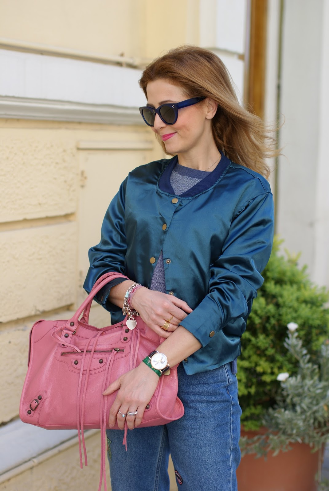 Choies satin bomber, Rose Orthensia Balenciaga bag on Fashion and Cookies fashion blog, fashion blogger style
