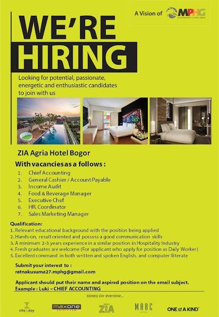 Lowongan Kerja Hotel Zia Agria Hotel Bogor 7 Posisi Lowongan Kerja Hotel