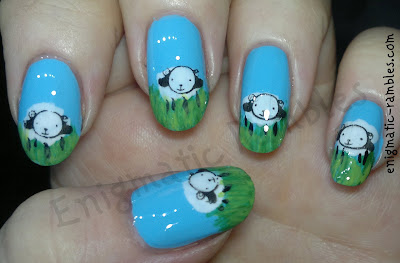 spring-lamb-sheep-nail-art-nails-stamped
