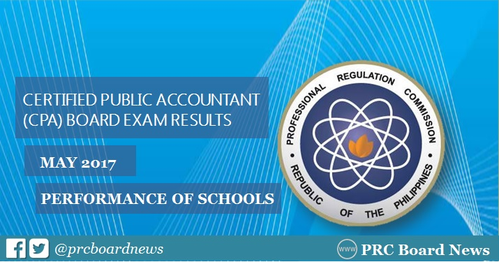 Performance of Schools: May 2017 CPA Board Exam Results