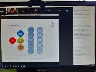 Kompiuterio ekrano nuotrauka su schema nuotolinių mokymų metu