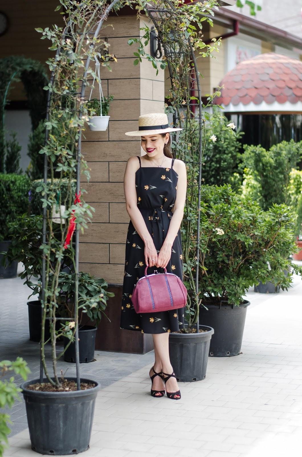 fashion blogger fashion diyorasnotes diyora beta cami dress midi dress straw hat asos heeled sandals outfit summer look 2017 lookbook street style