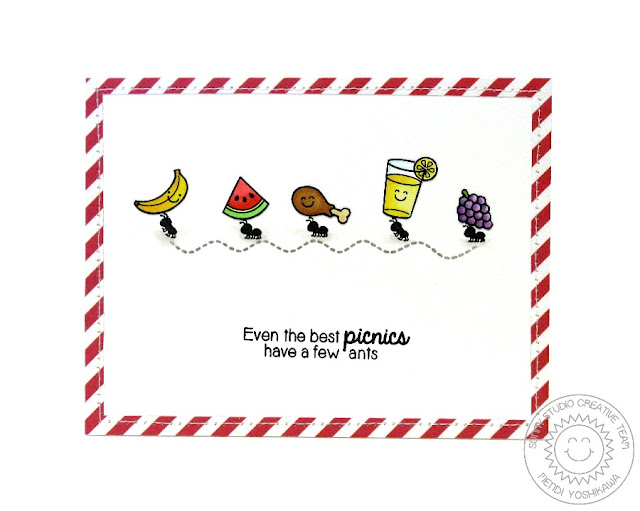 Sunny Studio: Even The Best Picnics Have A Few Ants card by Mendi Yoshikawa (using Summer Picnic & Backyard Bugs stamps)