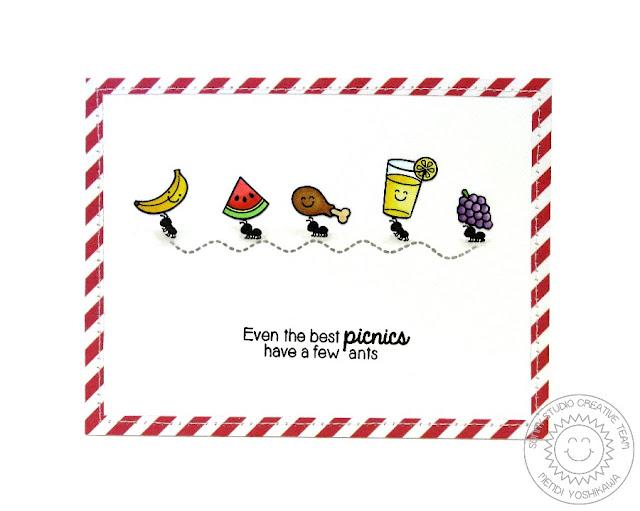 Sunny Studio: Even The Best Picnics Have A Few Ants card by Mendi Yoshikawa (using Summer Picnic & Backyard Bugs stamps)