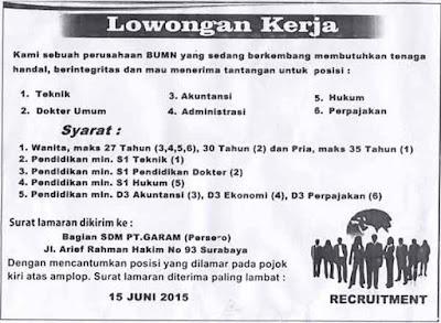 contoh iklan lamaran pekerjaan bahasa indonesia