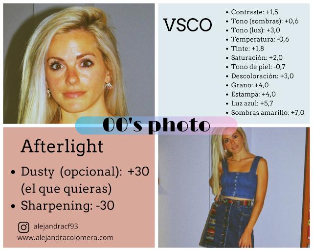 Valores de VSCO y Afterlight para conseguir un efecto de foto como si fuera del año 2000