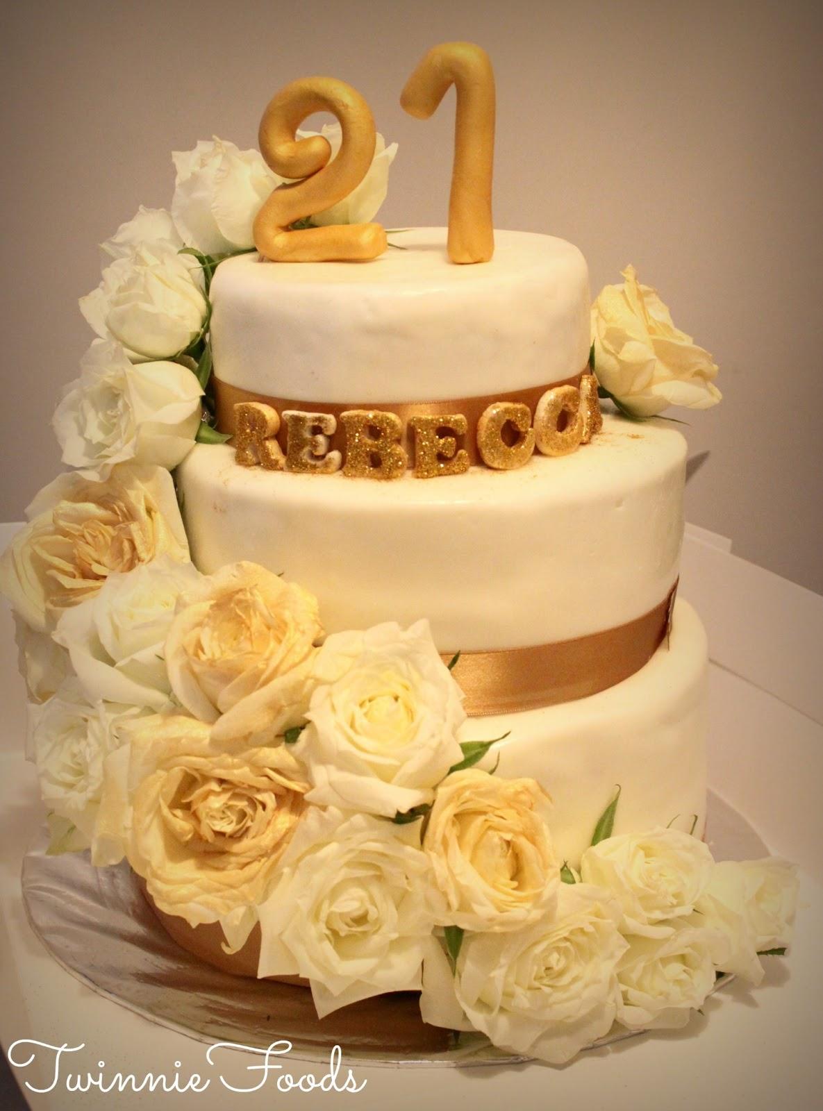 Floral White Amp Gold 21st Birthday Cake Twinniefoods