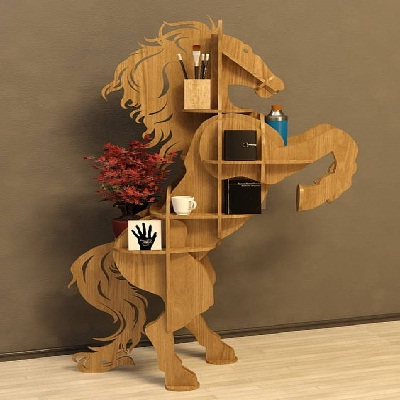 unique horse wooden wall shelf idea