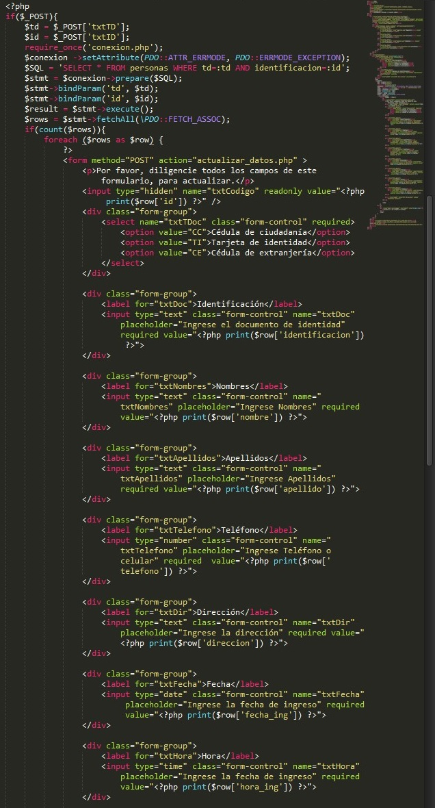 Consulta en mysql desde php para actualizar datos