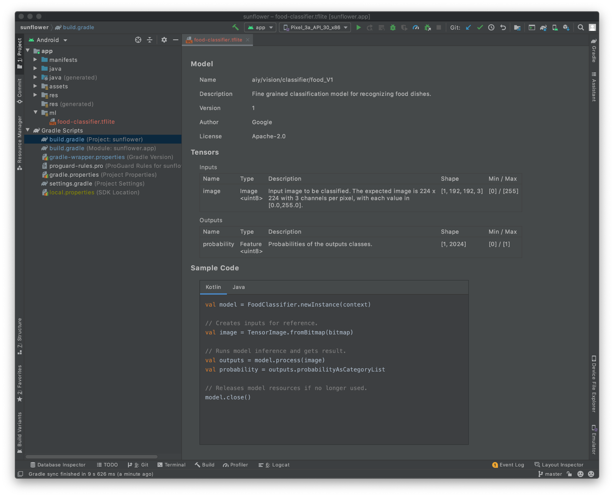 TensorFlow Lite in Android Studio 4.1