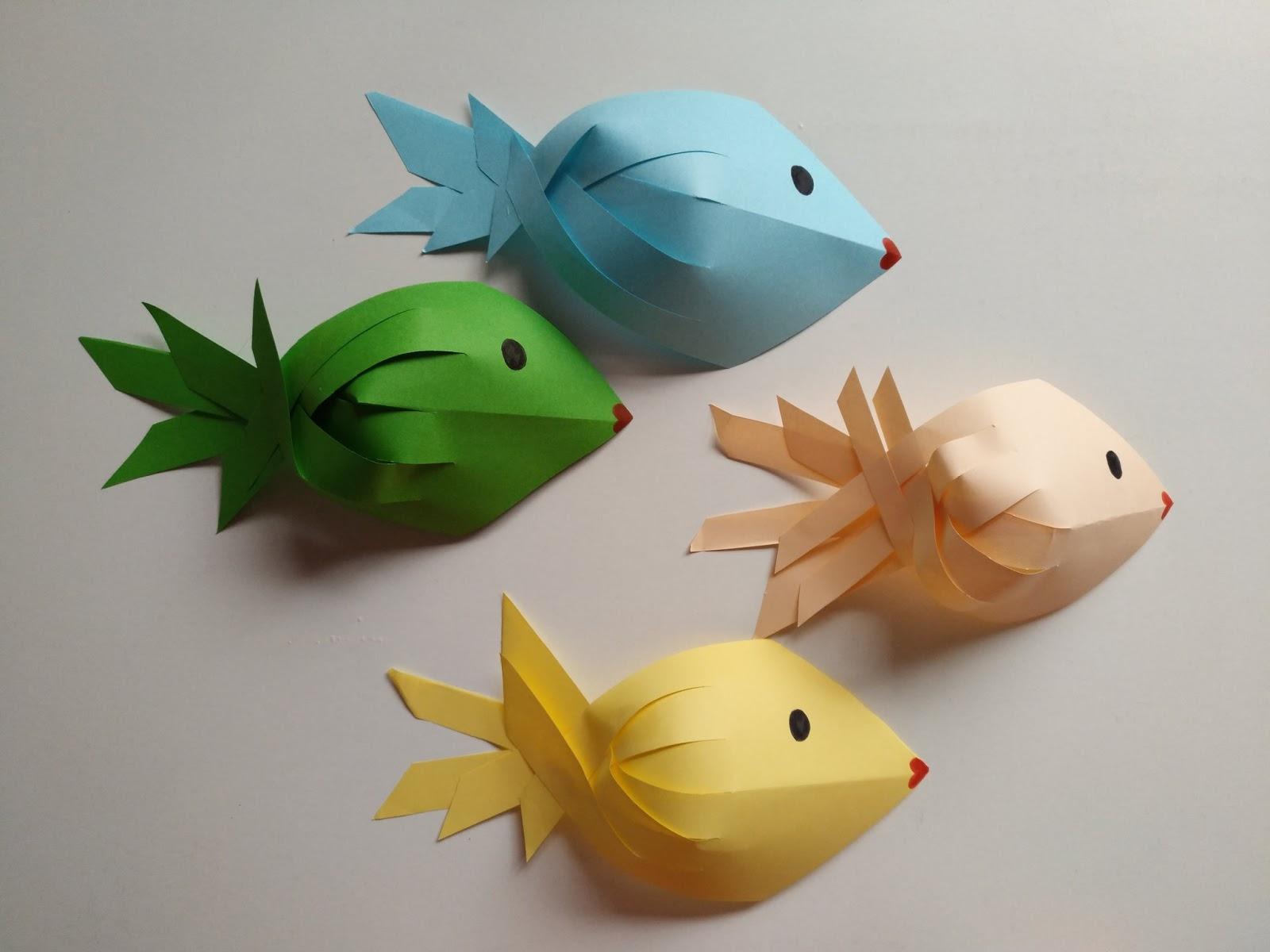 Entrenubesespeciales peces con papel de colores - Como hacer colores ...