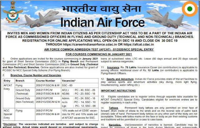 IAF Recruitment भारतीय वायु सेना भर्ती