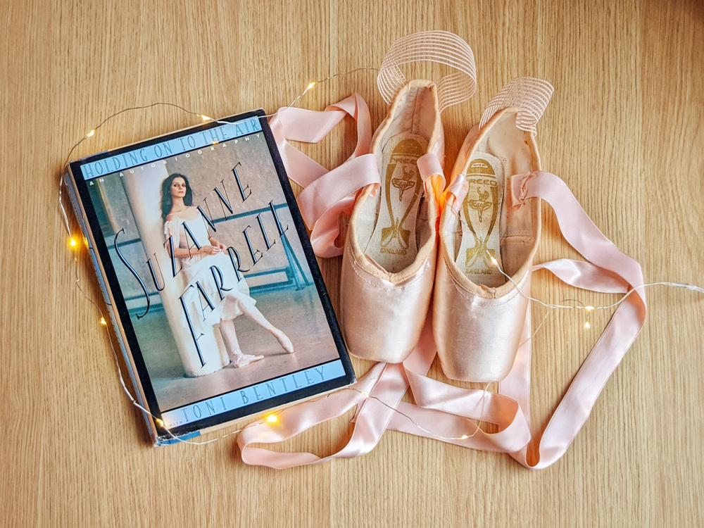 Autobiography Holding On To the Air by Suzanne Farrell, fairy lights, and pointe shoes.