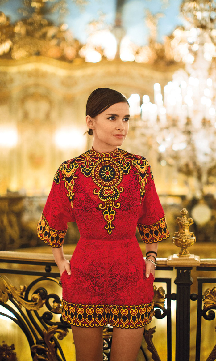 Russian It Girl Miroslava Duma wears a baroque embroidered romer and pinned back hair which makes her the perfect fashion inspiration