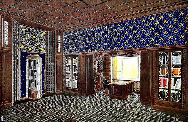 a 1910s German interior, color illustration, radical design