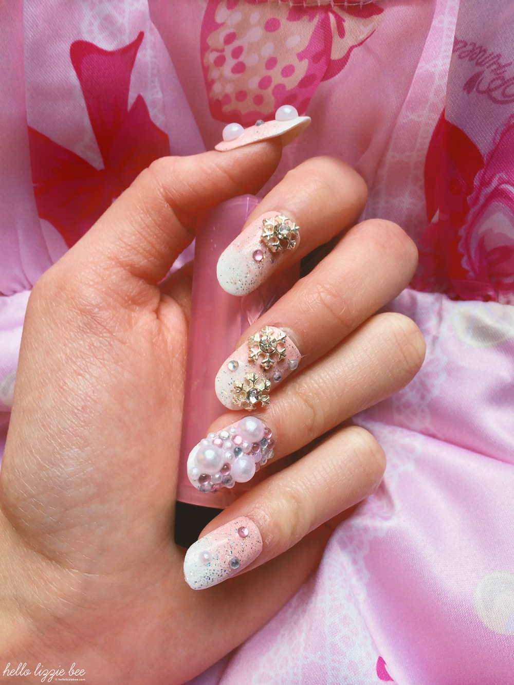 gyaru nails, hime gyaru nails, christmas nails