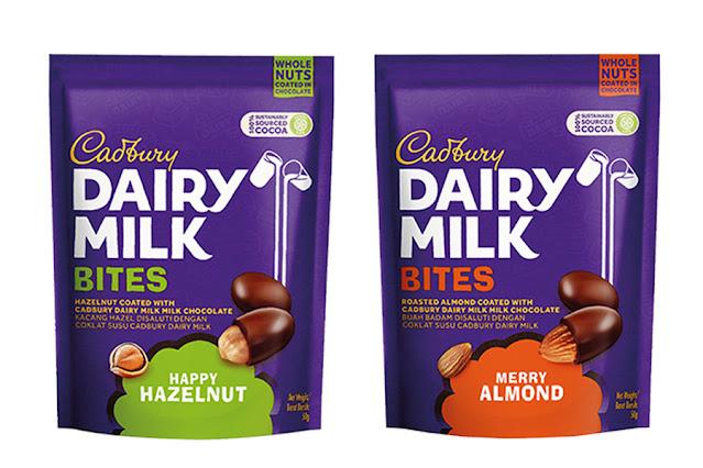 Cadbury Dairy Milk Bites in Happy Hazelnut and Merry Almond
