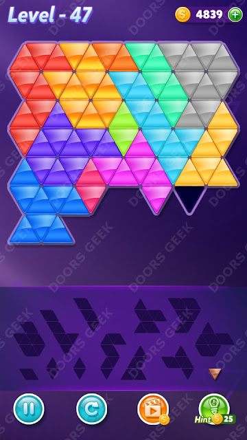 Block! Triangle Puzzle Champion Level 47 Solution, Cheats, Walkthrough for Android, iPhone, iPad and iPod