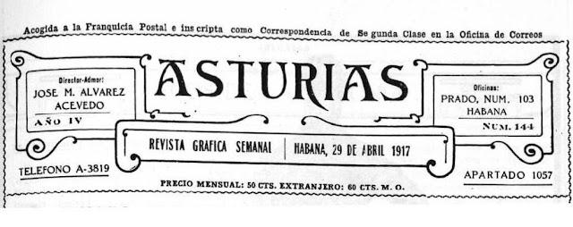 Cabecera de la revista Asturias, editada en La Habana