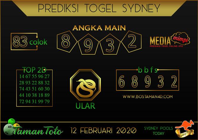 Prediksi Togel SYDNEY TAMAN TOTO 12 FEBRUARY 2020