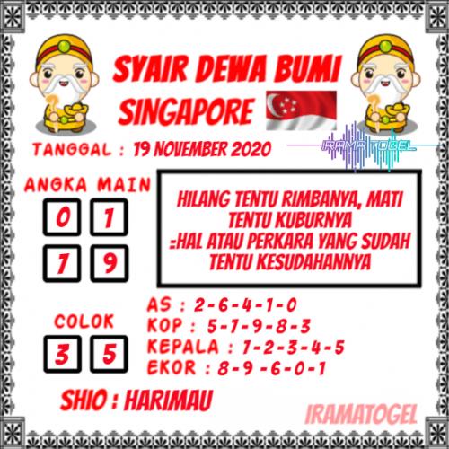 Syair SGP Kamis 19 November 2020 -
