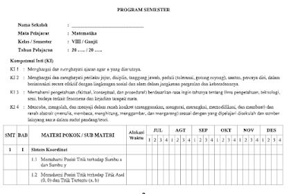 Program Semester Matematika Kls 8 SMP Tahun Pelajaran 2021