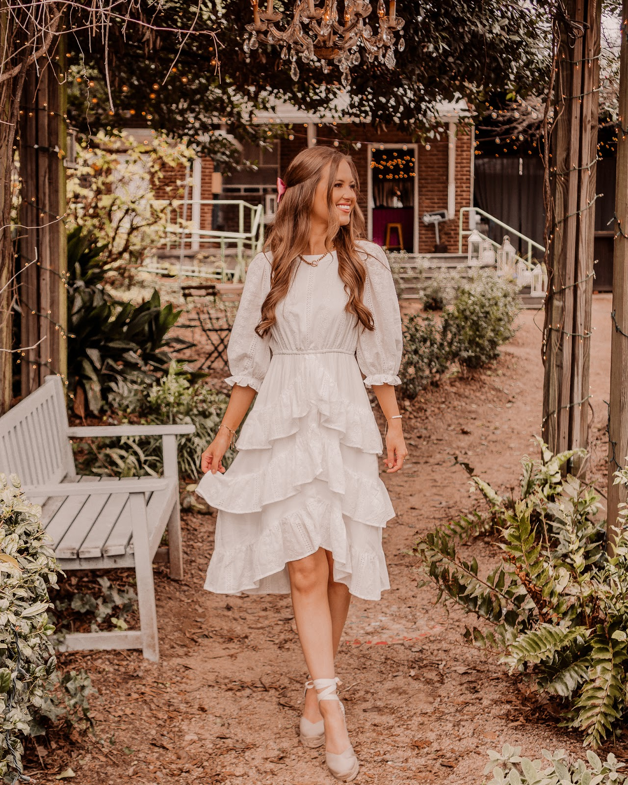 White Eyelet Dress, Castaner espadrille wedges