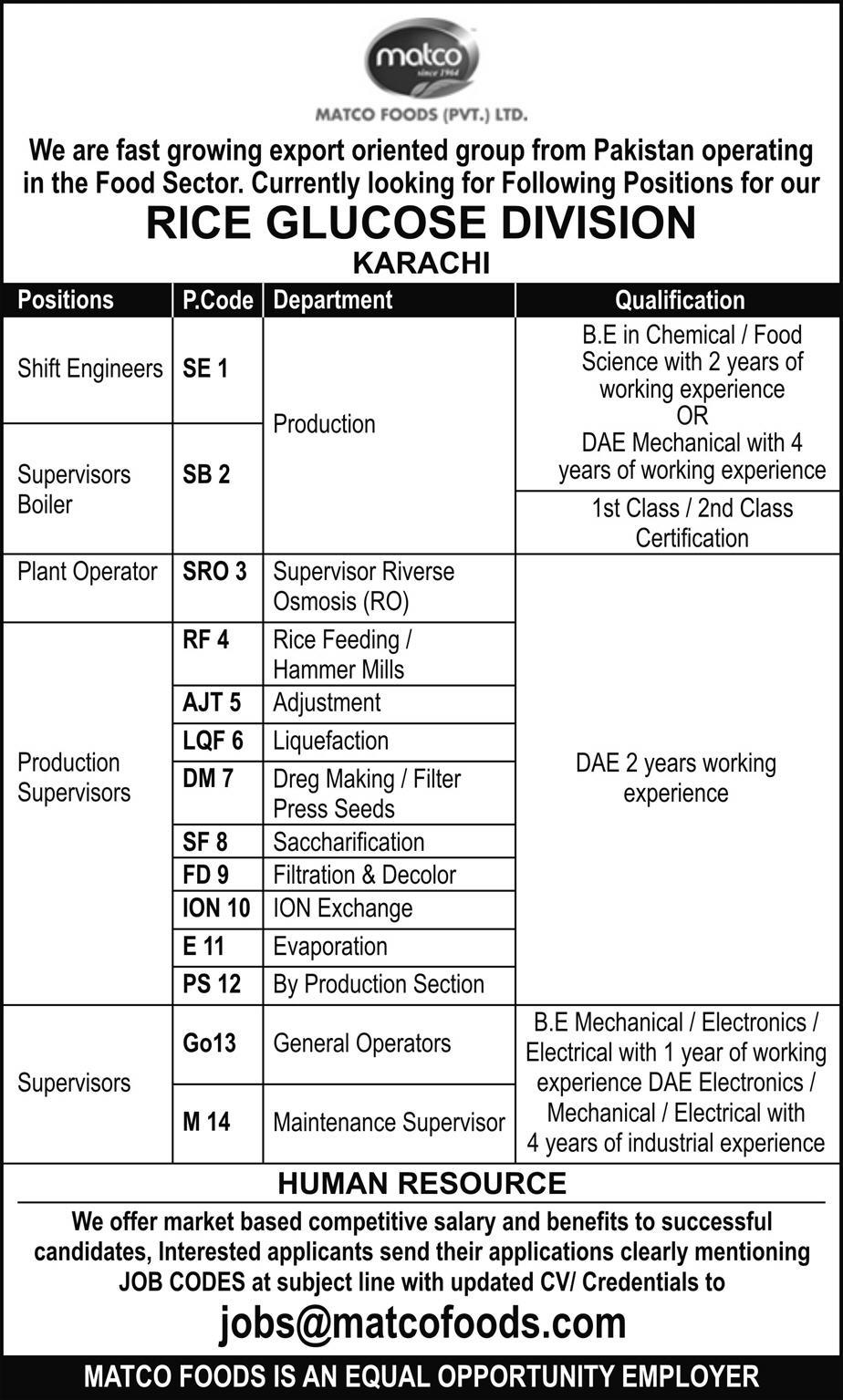 Matco Foods Pvt Ltd Karachi Jobs