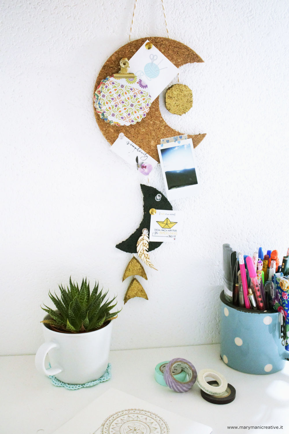 Come fare una Pinboard lunare in sughero DIY