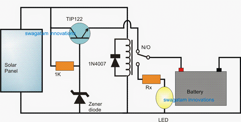 1 Watt Solar Light Circuit Using Relay on solar battery charging circuit design