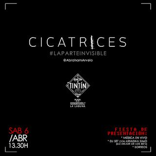 """Cartel de """"Cicatrices, #LaParteInvisible"""" en el Rincón de Tintín, 6 de abril"""