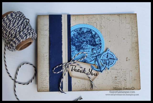 Thank You card using Stampin' Up!'s The Open Sea and Night of Navy/Sahara Sand Baker's Twine