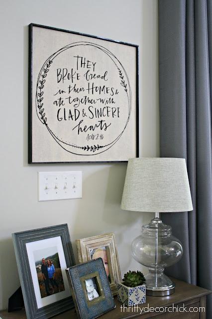 DIY framed art using a tea towel or fabric