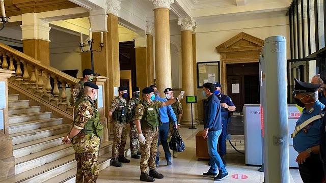 CATANZARO. Covid-19: in Corte d'Appello servizio di prevenzione del Corpo Militare Volontario della Croce Rossa Italiana